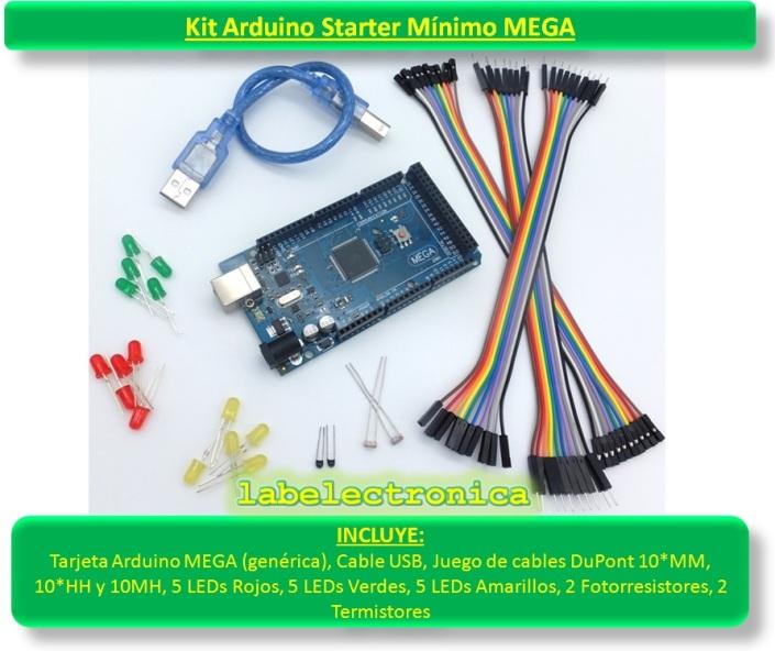 Arduino starter kit mínimo mega cables leds sensors