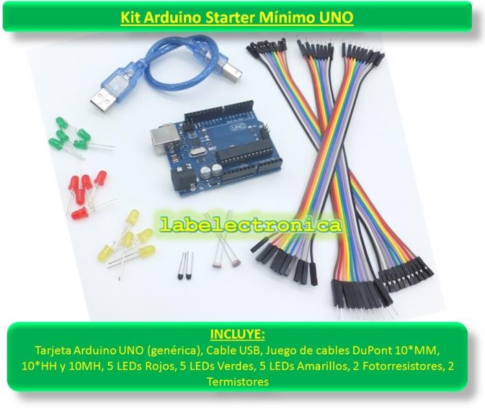 Arduino starter kit mínimo uno cables leds sensors