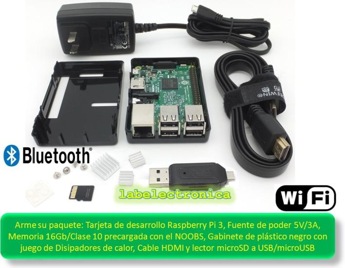 Raspberry Pi 3 Kit Completo Fuente 5v 3a, Microsd